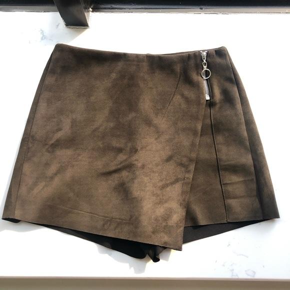 Zara Pants - Zara brown suede mini skort
